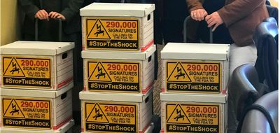 Many boxes with signs on them saying #StopTheShock